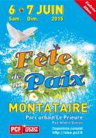 Flyer de l'édition 2015 de la Fête de la Paix - PCF Oise, 6 & 7 juin 2015