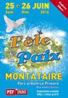 Affiche de l'édition 2016 de la Fête de la Paix - PCF Oise, 25 & 26 juin 2016