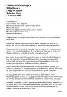 Cérémonie d'hommage à Gilles Masure, intervention d'Alain Blanchard - Crépy-en-Valois, 7 mars 2014