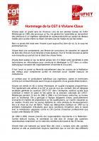Hommage de la CGT à Viviane Claux - 7 septembre 2018