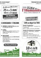 Flyer « Fête de l'Humanité : vignettes et cars au départ de l'Oise » - Voyage à la mer à Dieppe, 20 août 2016