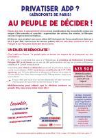 Tract « Privatiser ADP ? Au peuple de décider » - Journée à la mer, 17 août 2019