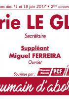 Bulletin de vote « Marie Le Glou et Miguel Ferreira (suppléant) » - 2e circonscription de l'Oise, 11 juin 2017