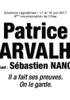 Bulletin de vote « Patrice Carvalho et Sébastien Nancel (suppléant) » - 6e circonscription de l'Oise, 11 juin 2017