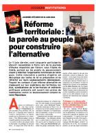 Réforme territoriale : la parole au peuple pour construire une alternative - L'élu d'aujourd'hui, juillet 2014