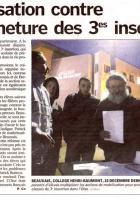 Mobilisation des enseignants du collège Henri Beaumont contre la fermeture des 3e d'insertion - Beauvais, 12 janvier 2010