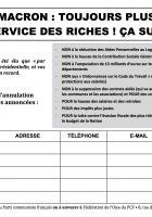 Pétition « Macron : toujours plus au service des riches, ça suffit ! » - Oise Avenir, 30 août 2017