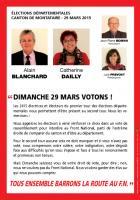 Tract « Dimanche 29 mars votons ! Tous ensemble barrons la route au FN » - OSEC60, canton de Montataire, 23 mars 2015