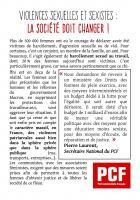 Tract « Violences sexuelles et sexistes, la société doit changer » - PCF Valois, 21 novembre 2017