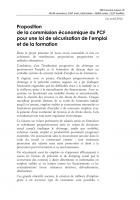 Proposition de la commission économique du PCF pour une loi de sécurisation de l'emploi et de la formation (version résumée)