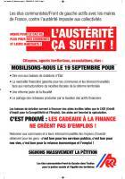 Tract « L'austérité, ça suffit » - ANECR, 19 septembre 2015