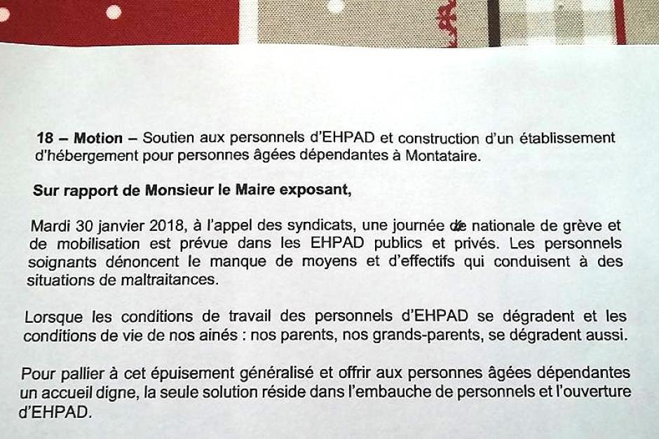Ehpad : le Conseil municipal apporte son soutien aux personnels et renouvelle son souhait de construction d'un tel établissement sur la commune - Montataire, 29 janvier 2018