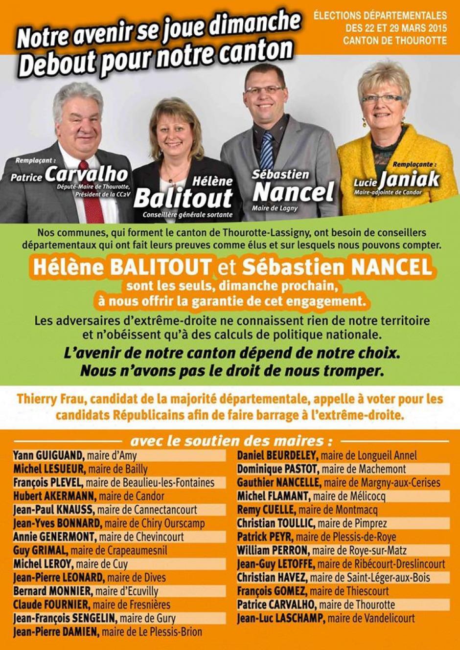 Soutiens du binôme Hélène Balitout et Sébastien Nancel - 2nd tour des élections départementales, canton de Thourotte