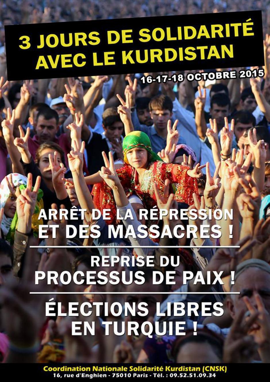 Affiche du CNSK « 3 journées nationales de solidarité avec le Kurdistan » - France, 16 au 18 octobre 2015