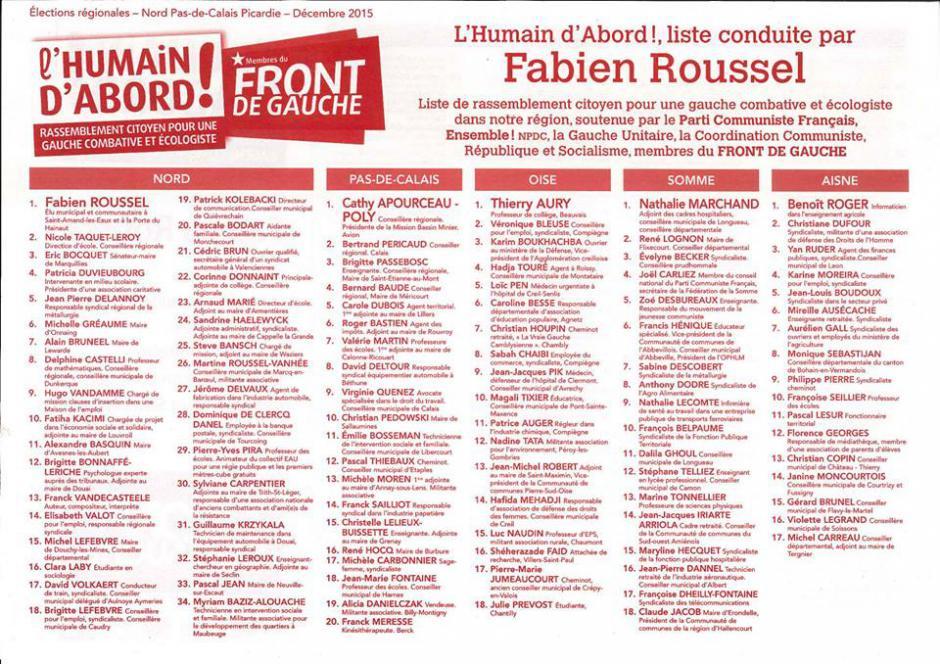 Bulletin de la liste Front de gauche l'Humain d'abord - Élection régionale Nord-Pas-de-Calais-Picardie, 6 décembre 2015
