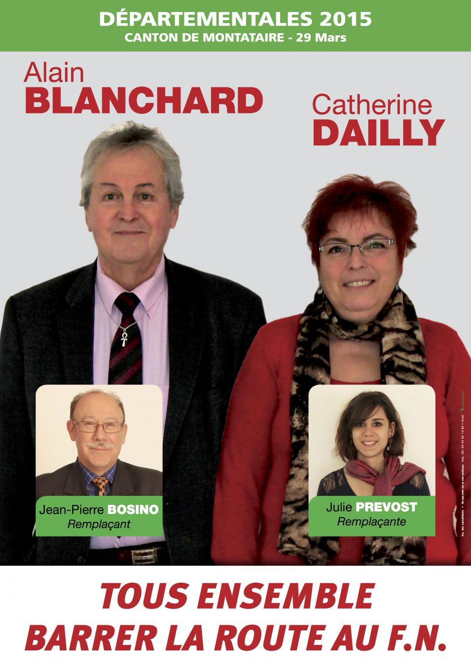 Alain Blanchard et Catherine Dailly : tous ensemble, barrer la route au FN dans le canton de Montataire