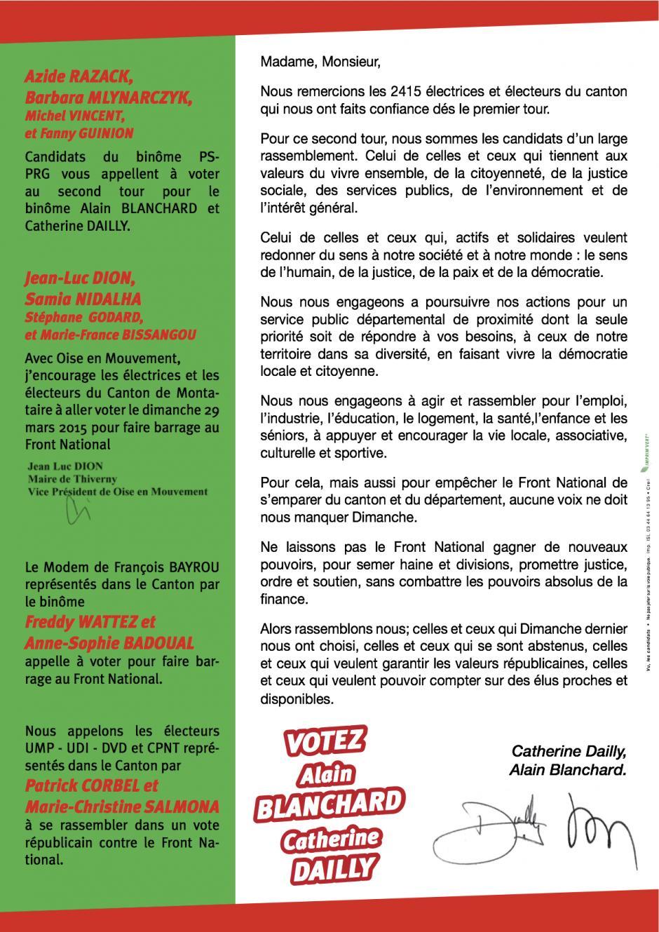 Circulaire d'Alain Blanchard et Catherine Dailly (verso) - 2nd tour des élections départementales