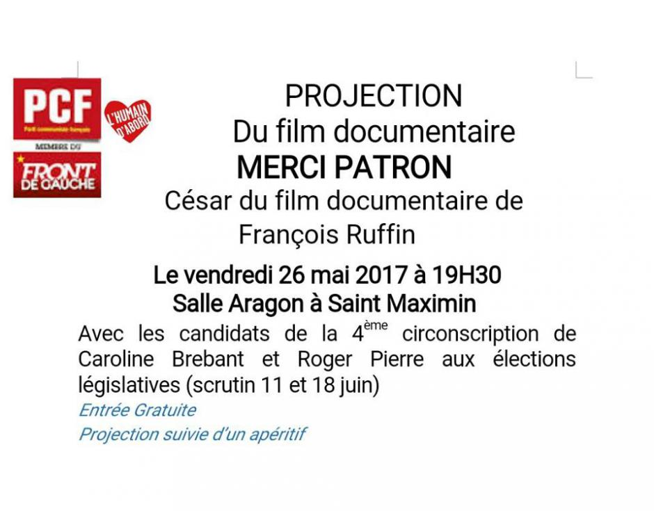 26 mai, Saint-Maximin - Projection-débat « Merci patron ! » avec Caroline Brebant et Roger Pierre, candidats sur la 4e circonscription