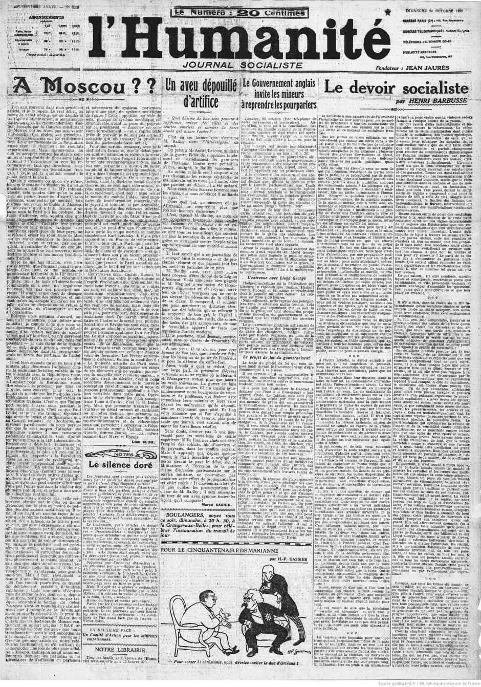 Centenaire du PCF, au jour le jour : L'Humanité du dimanche 24 octobre 1920
