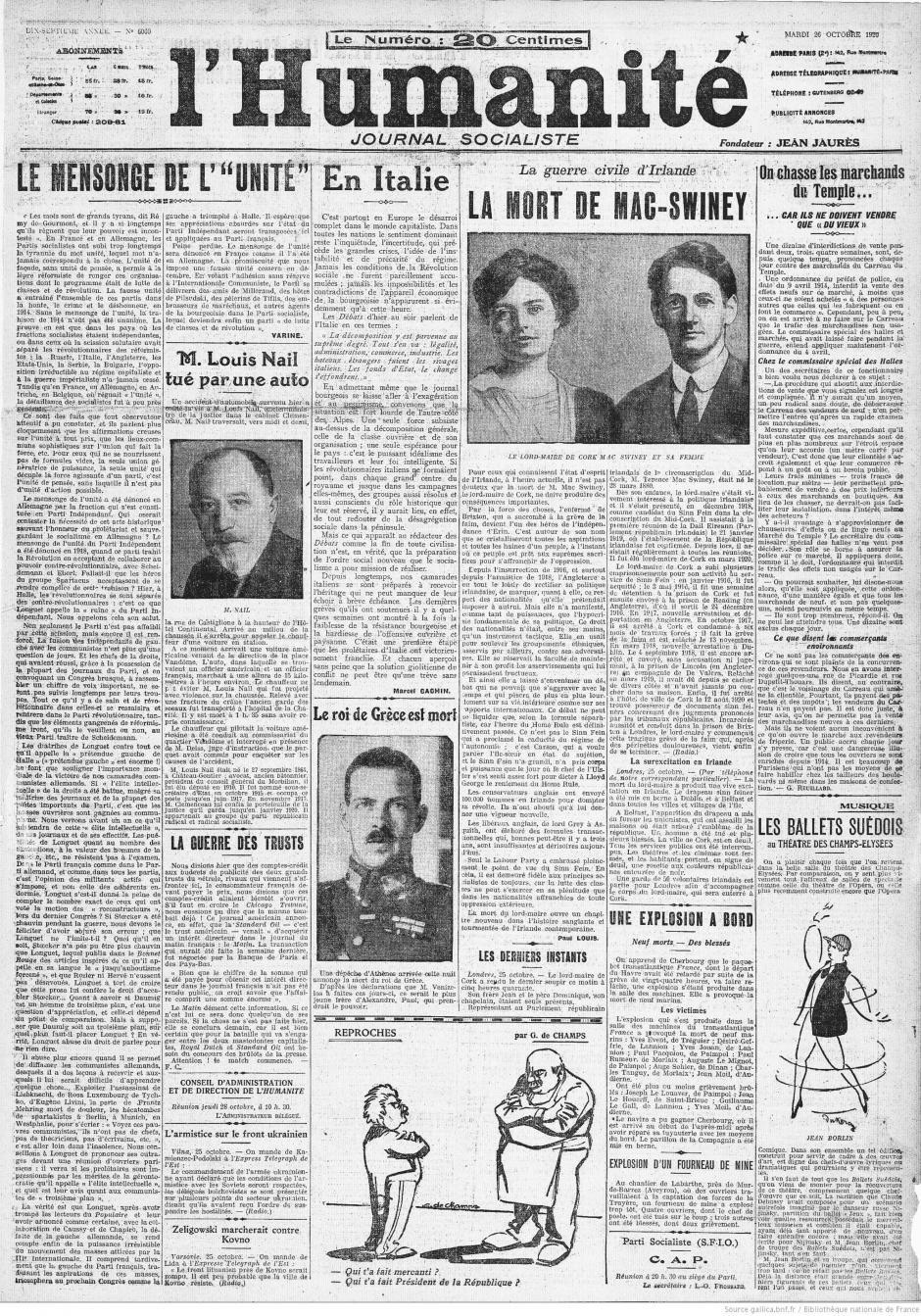 Centenaire du PCF, au jour le jour : L'Humanité du mardi 26 octobre 1920