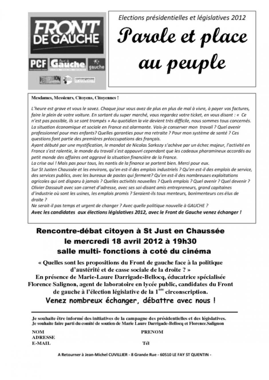 18 avril, Saint-Just-en-Chaussée - Assemblée citoyenne sur le thème des propositions du Front de gauche face à la politique d'austérité