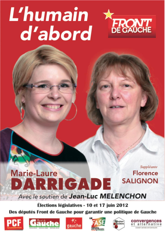 Affiche pour la campagne législative de Marie-Laure Darrigade et Florence Salignon - mai 2012