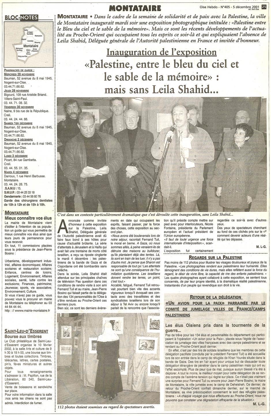 20011205-OH-Montataire-Inauguration de l'exposition « Palestine, entre le bleu du ciel et le sable de la mémoire »
