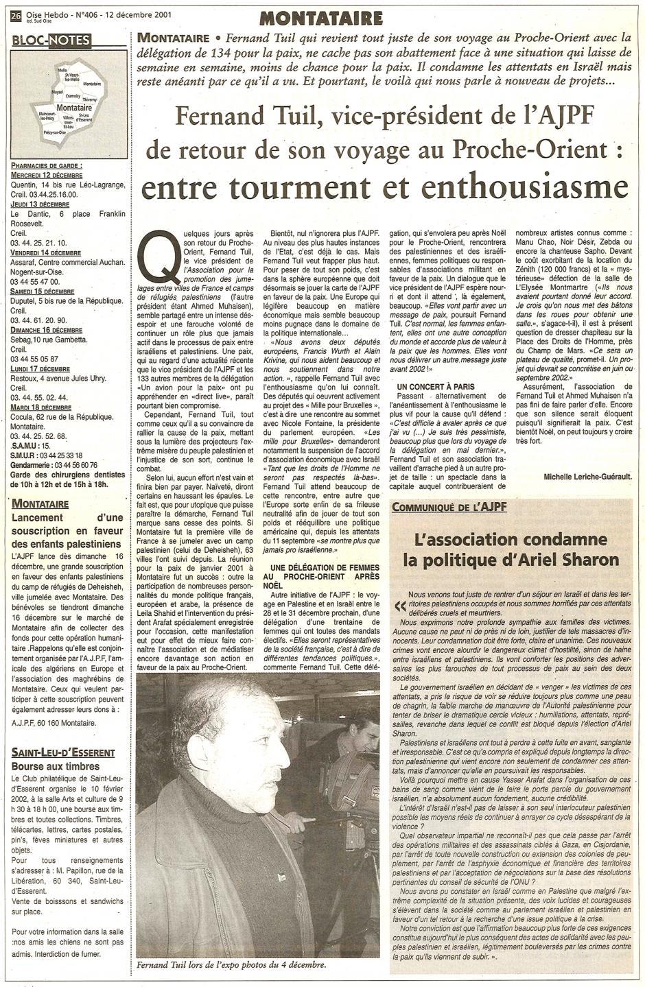 20011212-OH-Montataire-Fernand Tuil de retour de son voyage au Proche-Orient : entre tourment et enthousiasme