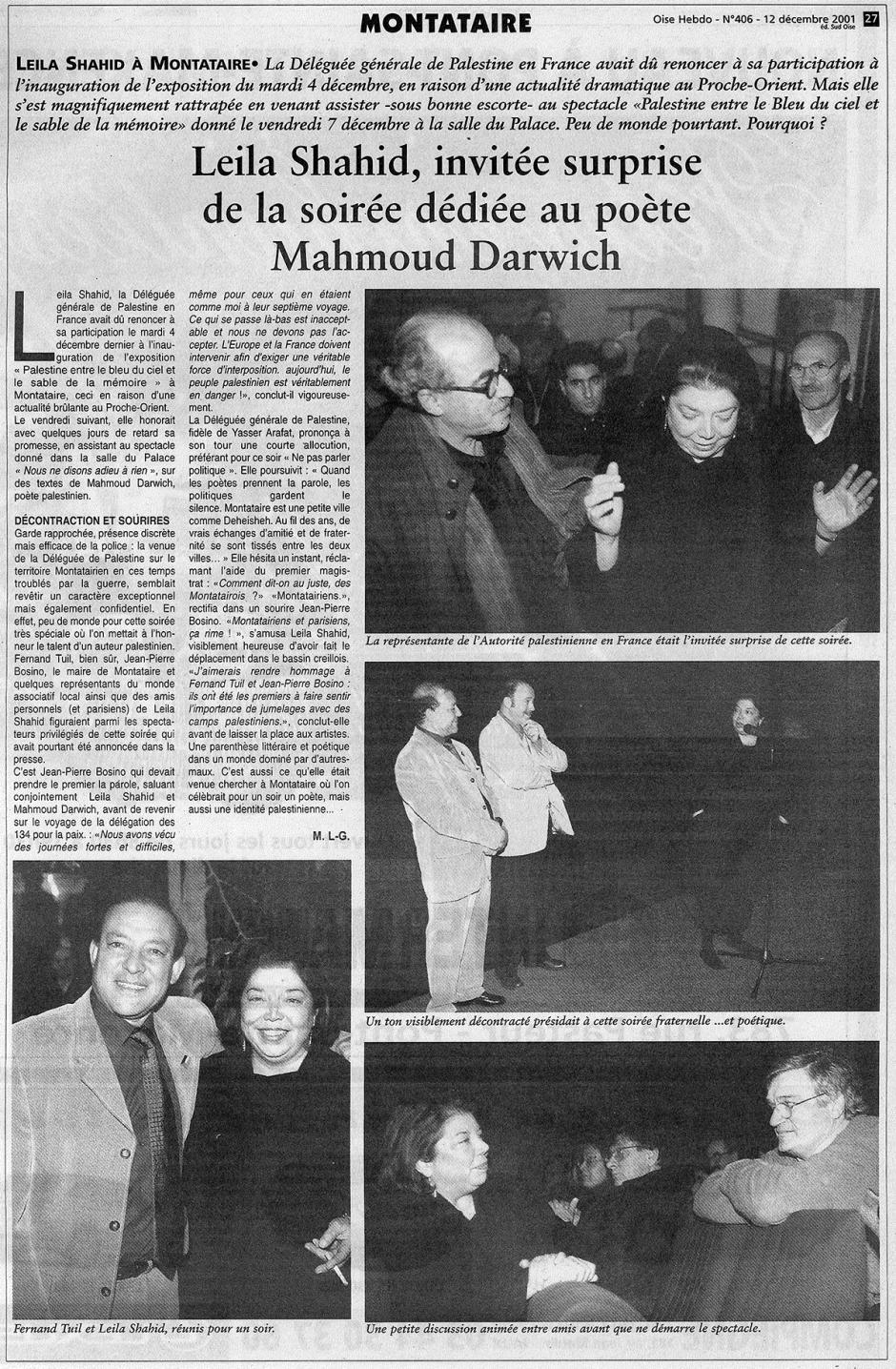 20011212-OH-Montataire-Leila Shahid invitée surprise de la soirée dédiée au poète Mahmoud Darwich
