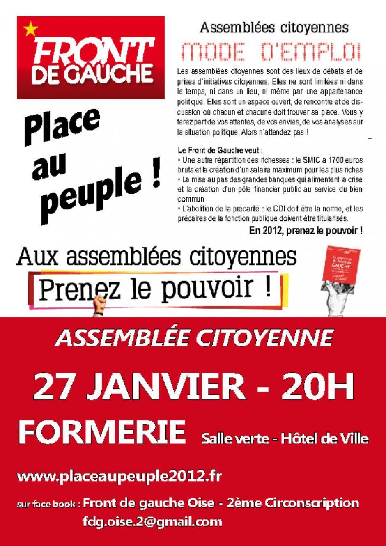 Affiche d'invitation à l'assemblée citoyenne de Formerie - 27 janvier 2012