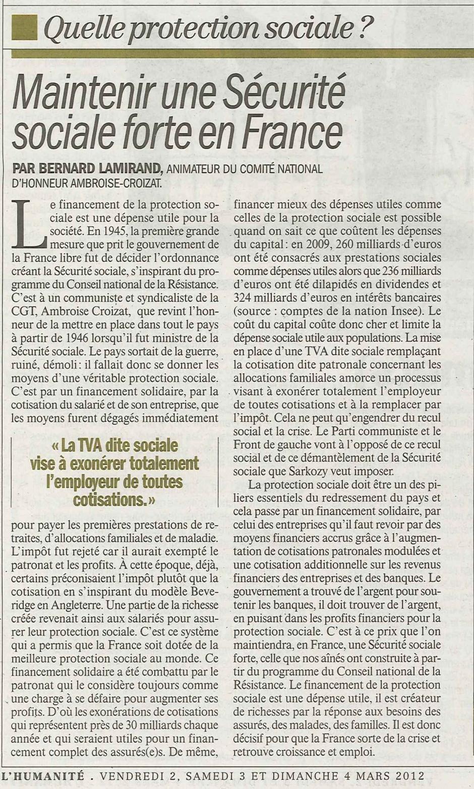 Bernard Lamirand-Maintenir une Sécurité sociale forte en France-Article paru dans l'Humanité des 2, 3 et 4 mars 2012