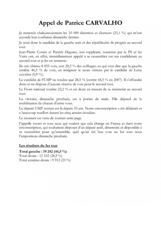 Appel de Patrice Carvalho à l'issue du 1er tour des Législatives - 11 juin 2012