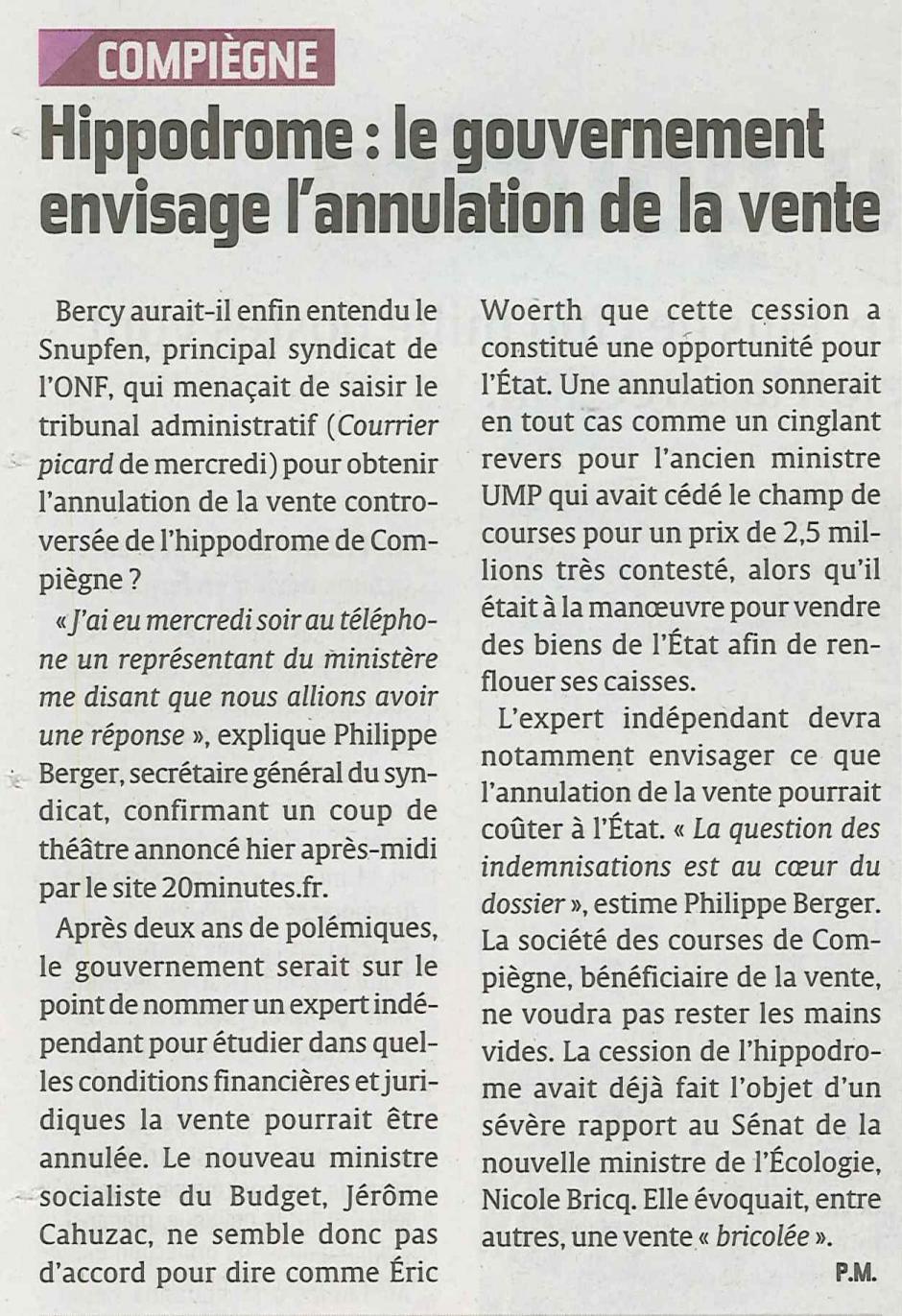 20120622-CP-Compiègne-Le gouvernement envisage l'annulation de la vente de l'hippodrome