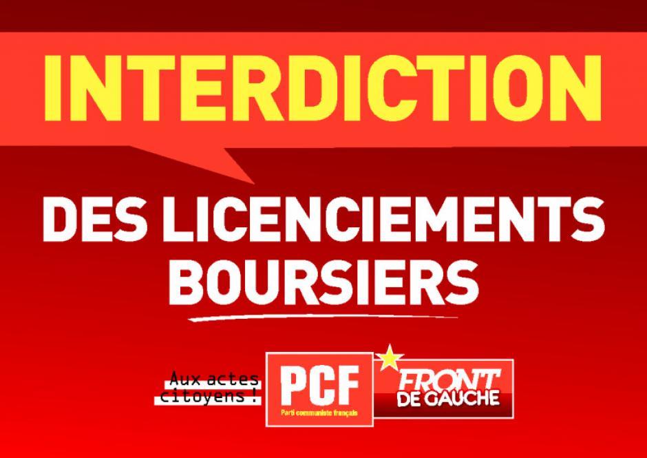 Affichette pour l'interdiction des licenciements boursiers - Été 2012