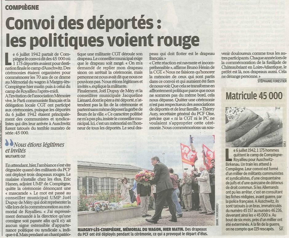 20120708-LeP-Compiègne-Convoi des déportés : les politiques voient rouge