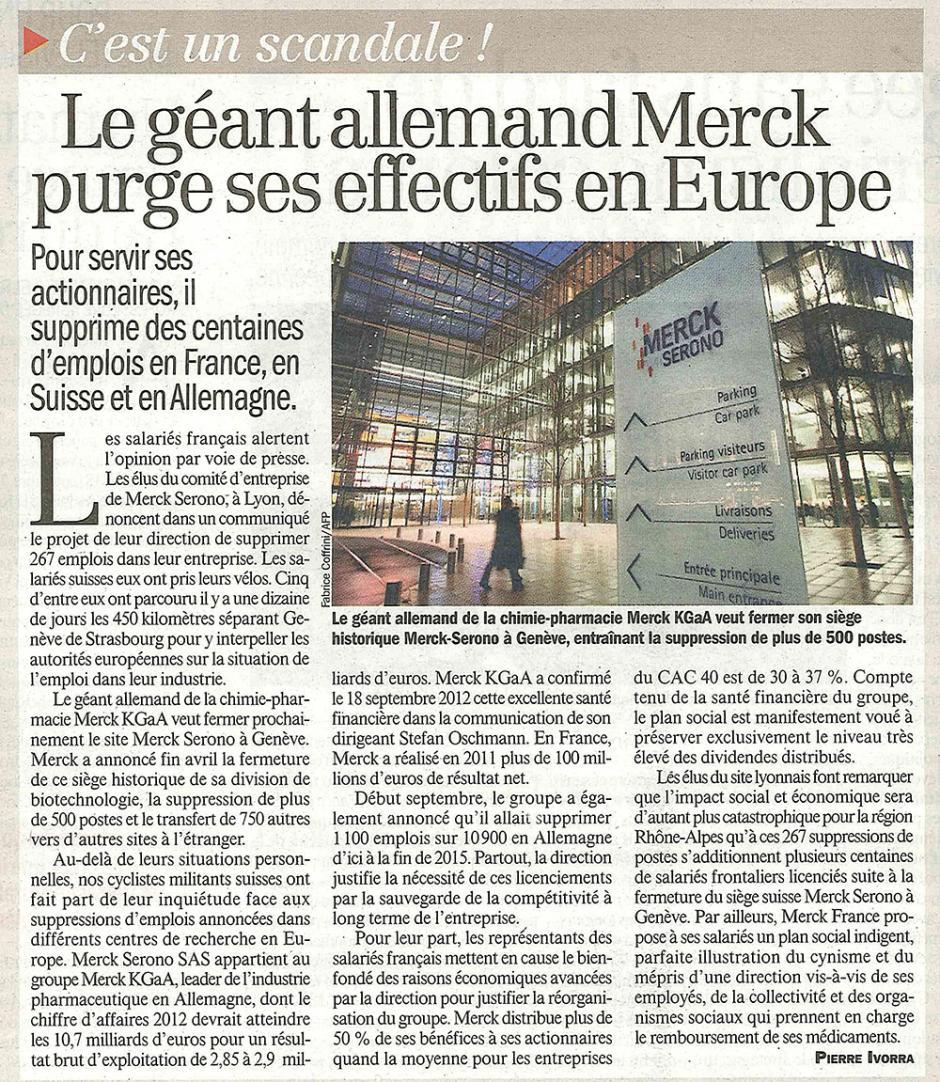 20121001-L'Huma-Le géant allemand Merck purge ses effectifs en Europe