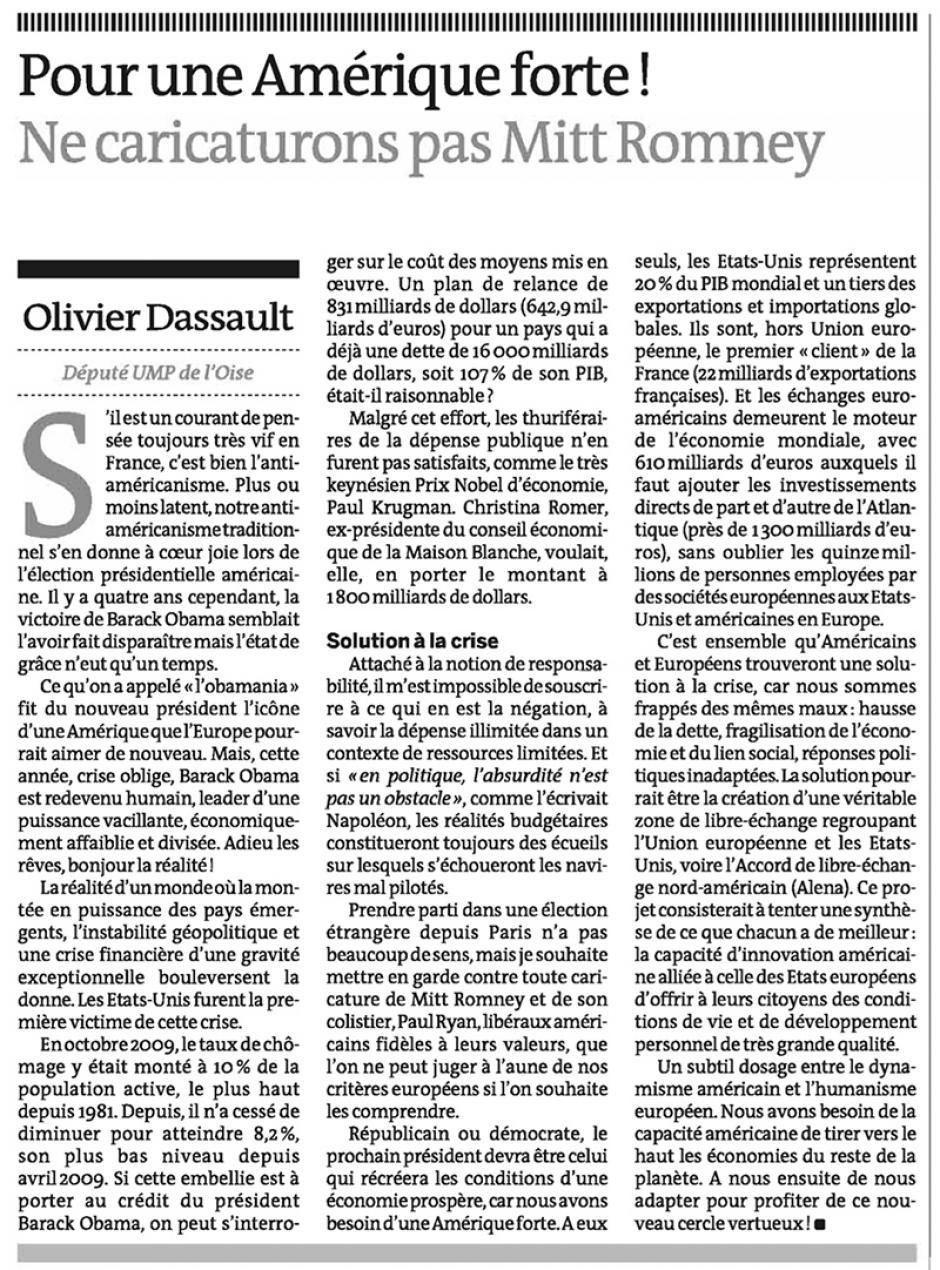 20121004-Le Monde-Olivier Dassault : Pour une Amérique forte-Ne caricaturons pas Mitt Romney