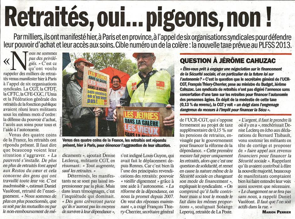20121012-L'Huma-Retraités, oui… pigeons, non ! (avec Nellie en photo !)