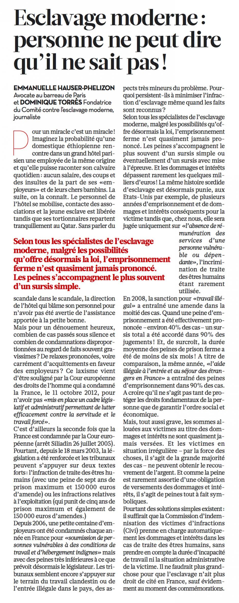 20121030-Libération-Esclavage moderne : personne ne peut dire qu'il ne sait pas !