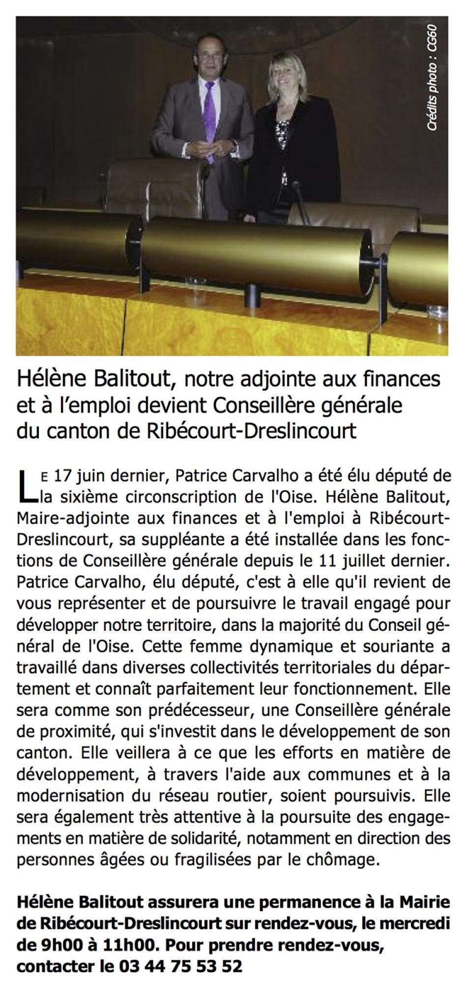 Hélène Balitout, notre adjointe aux finances et à l'emploi devient conseillère générale du canton de Ribécourt-Dreslincourt - Bulletin municipal de Ribécourt-Dreslincourt, novembre 2012