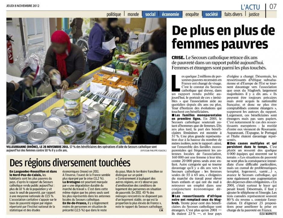 20121108-LeP-Rapport du Secours catholique-De plus en plus de femmes pauvres