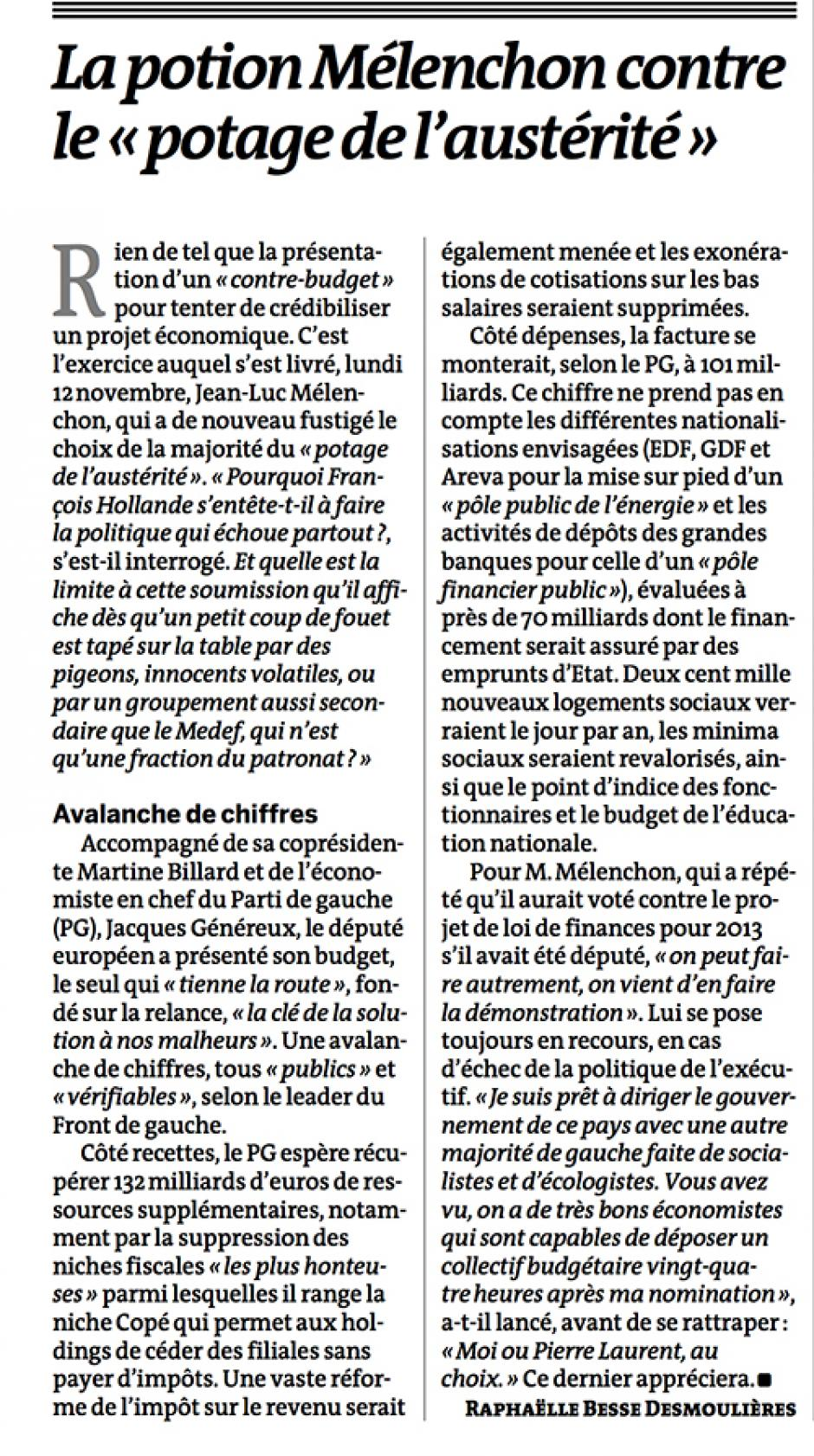 20121114-Le Monde-La potion Mélenchon contre le « potage de l'austérité »