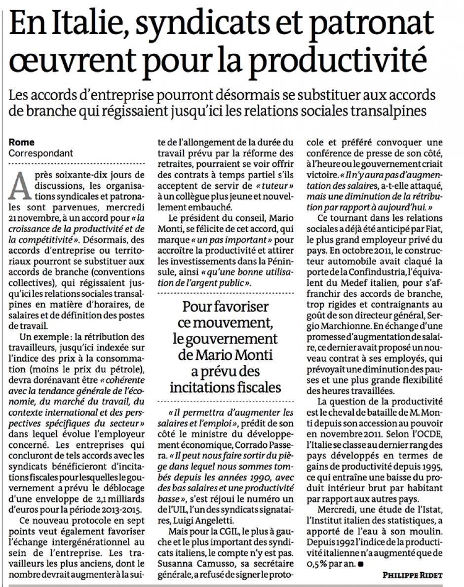 20121123-Le Monde-En Italie, syndicats et patronat œuvrent pour la productivité [accords d'entreprise]