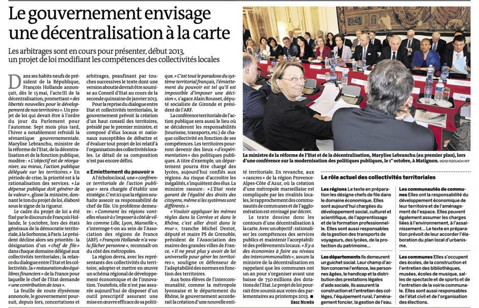 20121216-Le Monde-Le gouvernement envisage une décentralisation à la carte