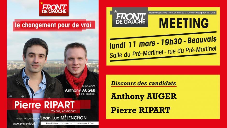 Meeting de soutien-Discours des candidats Pierre Ripart et Anthony Auger - Beauvais, 11 mars 2013