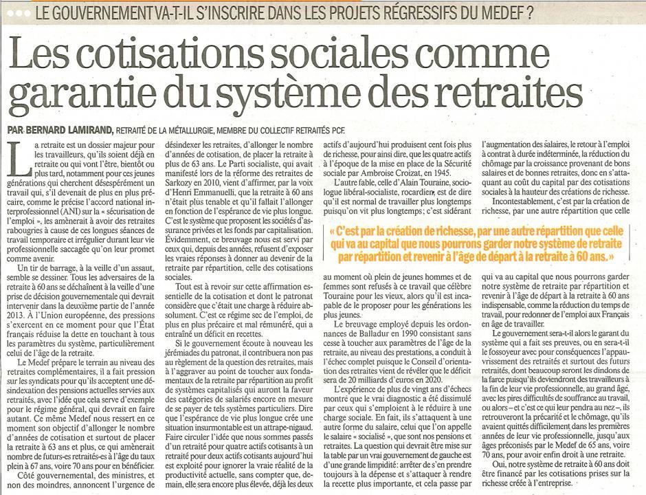 Bernard Lamirand-Les cotisations sociales comme garantie du système des retraites - L'Humanité, 13 mars 2013