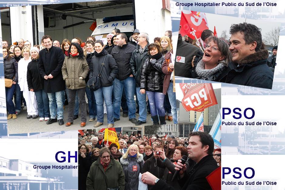 400 personnes venues soutenir Loïc Pen dans sa lutte pour la défense de l'hôpital public ! - Creil, 3 avril 2013