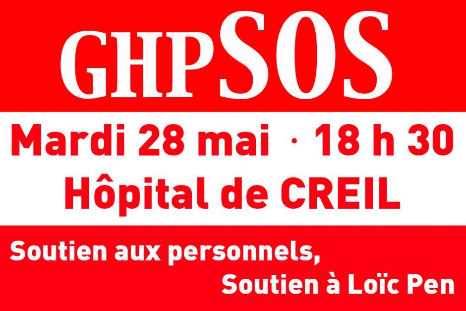 28 mai, Creil - Rassemblement de soutien aux personnels des hôpitaux de Creil-Senlis et au docteur Loïc Pen