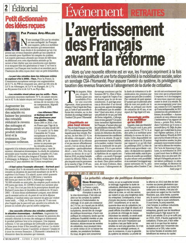 20130603-L'Huma-L'avertissement des Français avant la réforme-p.2