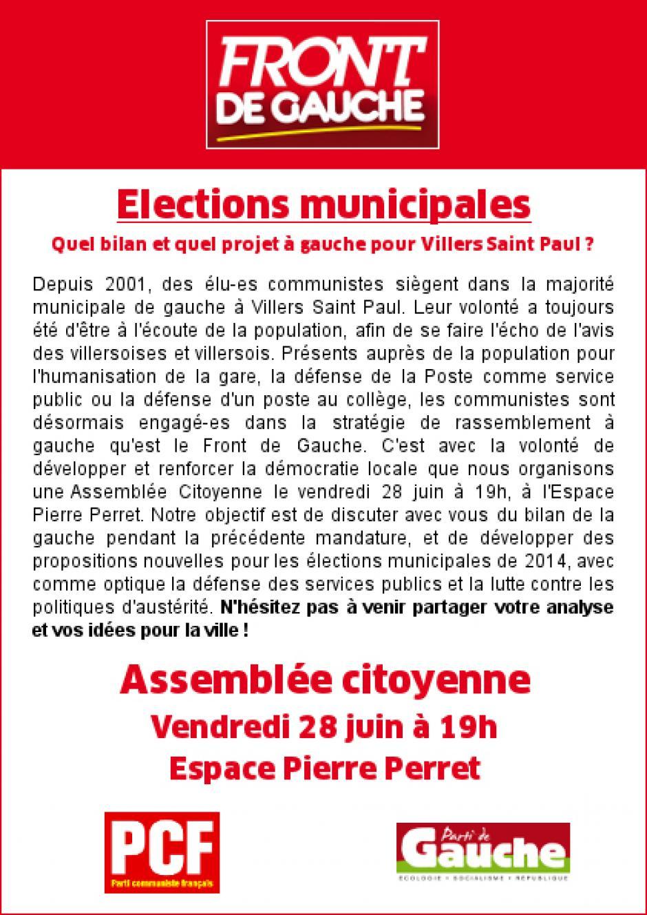 Tract Front de gauche appelant à participer à l'assemblée citoyenne sur les Municipales - Villers-Saint-Paul, 21 juin 2013